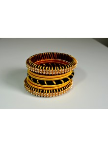 black and golden thread bangles