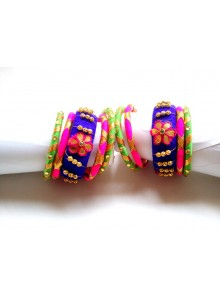 multi color bangles set (blue,rani,green)