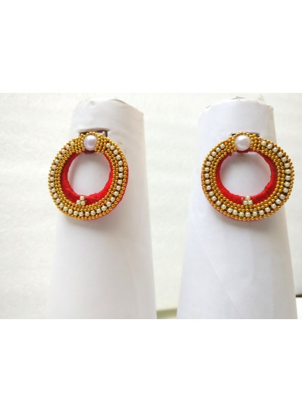 red thread earrings