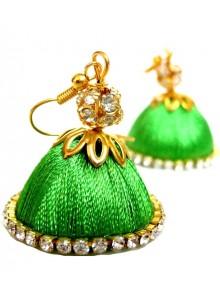 green thread earrings jumkha