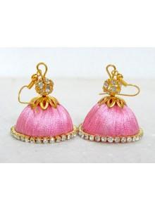 light pink thread earrings jumkha