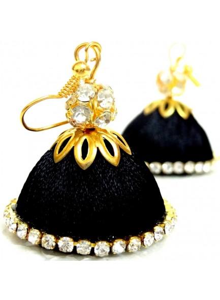 black thread earrings