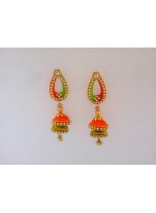 orange and green silk thread earrings