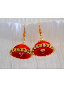 red woolen thread earrings