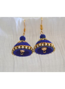 blue woolen thread earrings