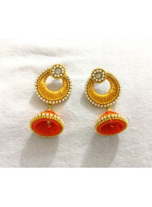 orange silk thread earrings