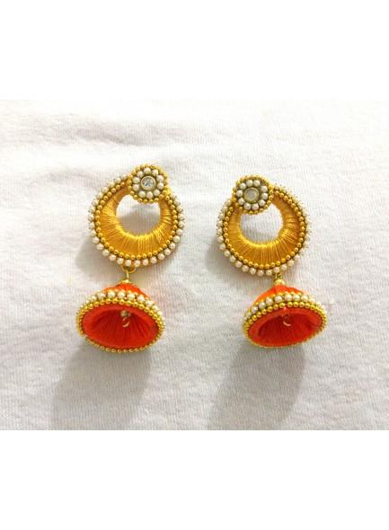orange silk thread earrings