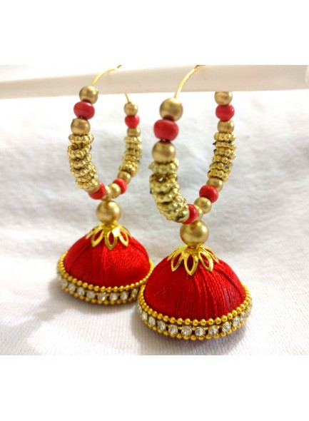 red silk thread earrings