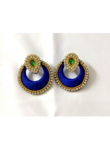 blue silk thread earrings