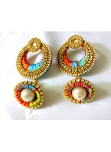 multi color silk thread earrings