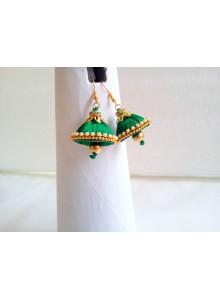 green silk thread earrings