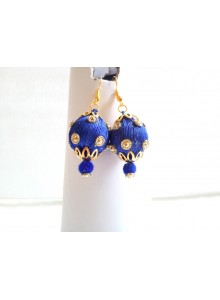 blue silk thread earrings