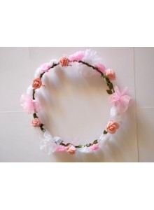 Devart White & Pink Flower Gracious Tiara/Crown Head Wrap For Women / Girls