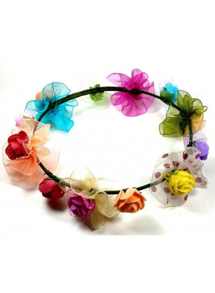 Devart Multi color Flower Gracious Tiara/Crown Head Wrap For Women / Girls