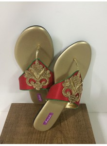 Golden and red women footwear