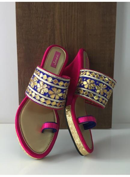 Blue and pink women footwear
