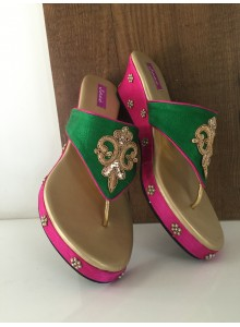 Green and rani women footwear