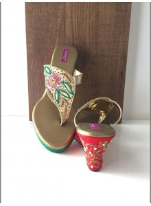 cream and green women footwear