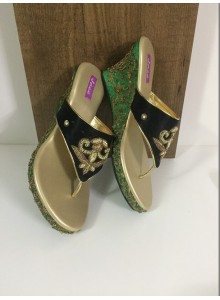 black and green women footwear
