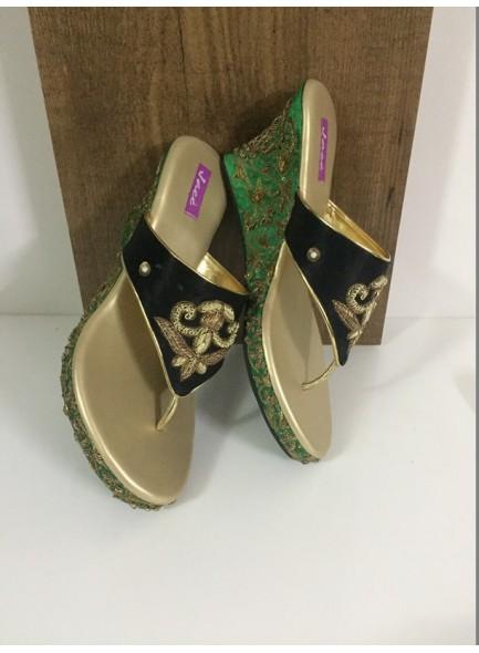 black and green women footwear