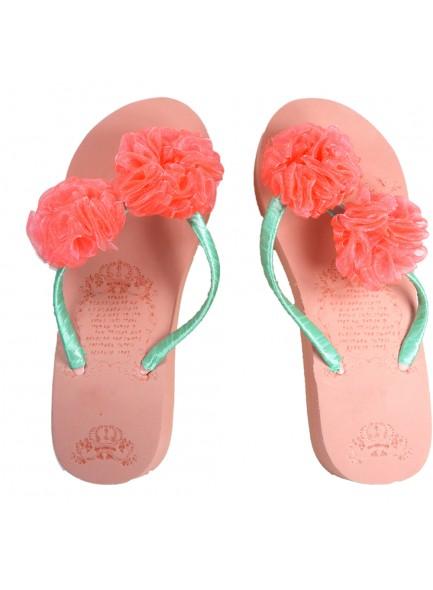 pink flower flip flop