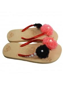 pink and black flip flop
