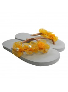 yellow flower flip flop