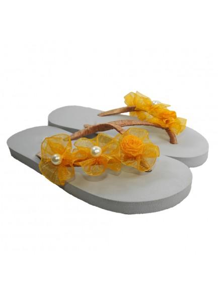 yellow flower flip flop