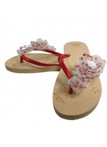 white bow flip flop