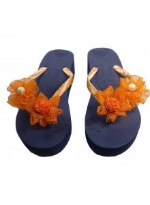 orange flower flip flop
