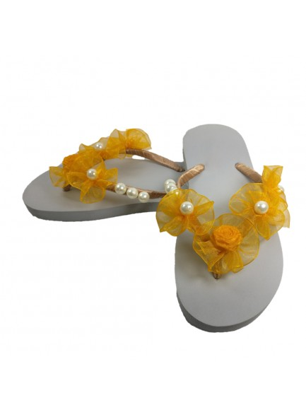 yellow flower flip flop with pearls