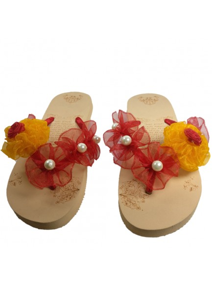 red and yellow flower flip flop
