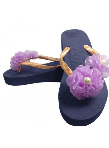 purple flower flip flop