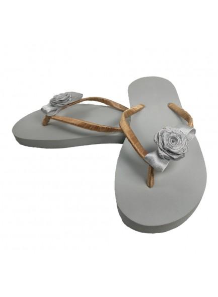 silver rose flip flop
