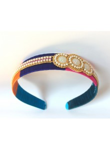 multi color silk thread hairband