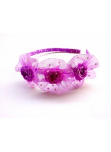 purple dotted rose hair band