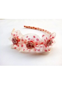 red dotted rose hair band