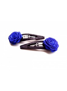 blue and black rose hair pin