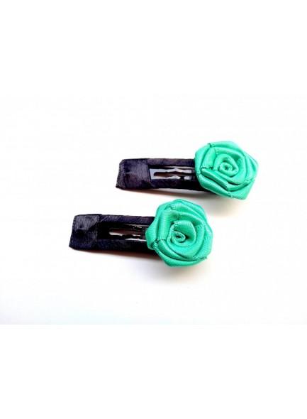 aqua rose hair pin