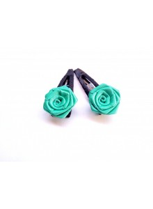aqua rose hair pin