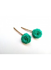 sea green rose bobby pin
