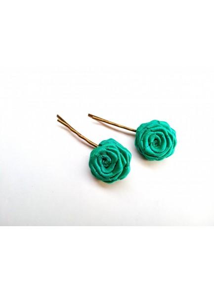 sea green rose bobby pin