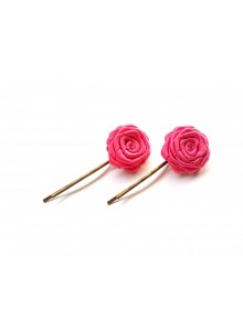 pink rose bobby pin