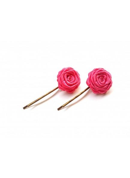 pink rose bobby pin