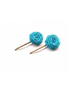 sky blue rose bobby pin