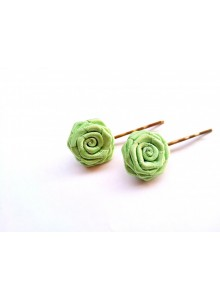 yellow green rose bobby pin