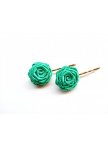 palm green rose bobby pin