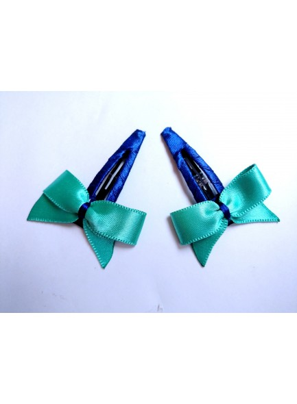 aqua bow hair pin