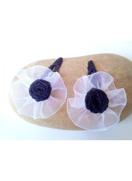 black rose hair pin