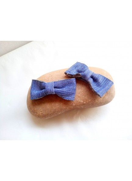 blue denim bow hair pin